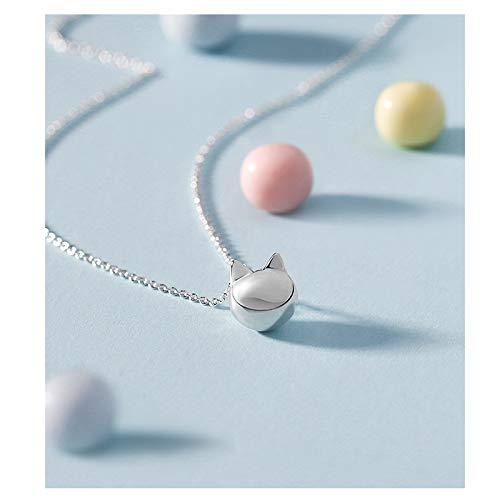 zongshengshop Exquisito Collar Collar de Gato Cadena de clavícula Femenina 925 Sterling Silver Cat Creative Colgante Coreano Simple Estudiante Regalo Regalo de cumpleaños