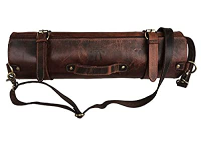 Leather Knife Roll Storage Bag | Elastic and Expandable 10 Pockets | Adjustable/Detachable Shoulder Strap | Travel-Friendly Chef Knife Case Roll from