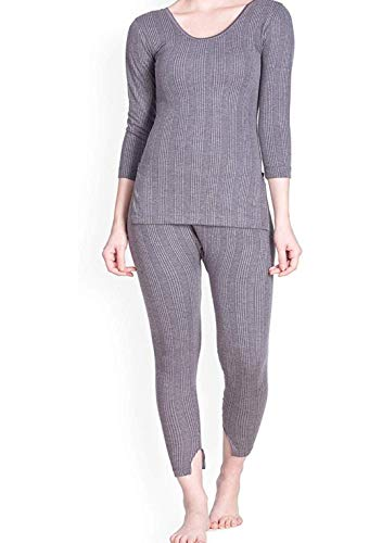 LUX Women's Cotton Inferno Thermal 3/4 Sleeves Long Top and Slim Lower (Charcoal Melange, Large)