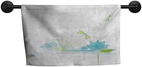 xixiBO Bath Towel W 28 x L 14(inch) Adult Quick-Drying Towel,Dragonfly,Waterlily and Dragonfly Nature Background Clouds Lake Sun Design,Apple Green Pale Blue