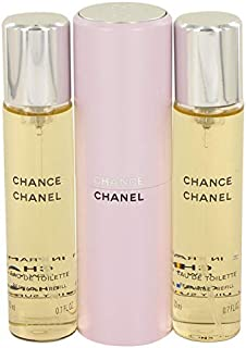 Chánêl Chánce Perfume For Women 3 x 0.7 oz Mini EDT Spray + 2 Refills Free Shower Gel