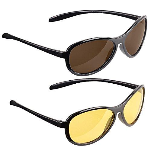 PEARL Nachsichtbrille: 2er-Set Sonnen- & Nachtsichtbrille, kontrastverstärkend, polarisierend (Sonnenbrille polarisiert)