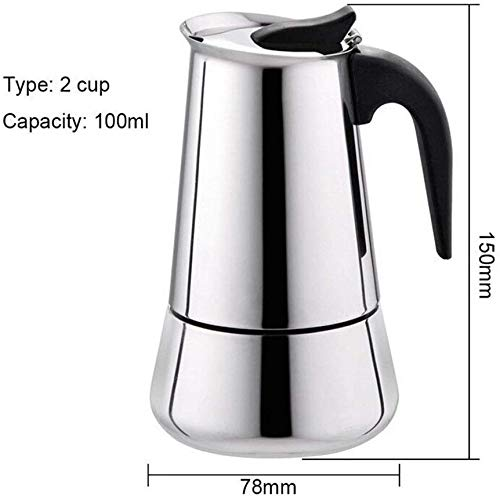 LLDKA espressomachine van roestvrij staal, Italiaans mokka espresso-apparaat voor de bereiding van koffie