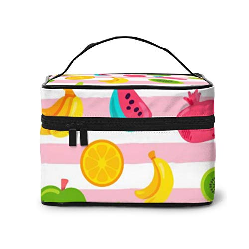 Travel Makeup Cosmetic Bags Girl Toiletry Bags Makeup Tropical Fruits Berries Seamless Pattern