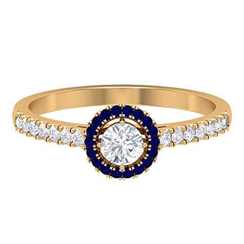 Rosec Jewels 18 quilates oro amarillo redonda round-brilliant-shape H-I Blue Diamond Blue Sapphire