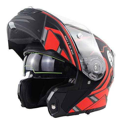STRTG Casco Modular para Mujer Cascos Abatibles De Doble Visera Casco De Moto De Invierno Completo Racing Winderproof Casco Aprobado por El Dot/ECE C,M