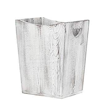 MOOACE Wood Trash Can Wastebasket Small Square Rustic Garbage Container Bin for Home or Office Living Room Bathroom