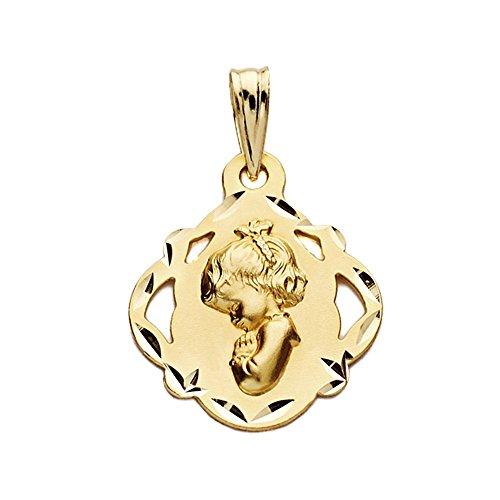 Medalla Oro 18K Virgen Niña 19mm. Colgante Forma Pandereta Filos Detalles Tallados Lados Calados - Personalizable - Grabación Incluida En El Precio