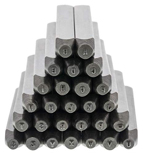 """The Beadsmith Steel Alphabet Stamps - Metal Elements - 27-Piece 1.5mm Uppercase Gothic Font - A-Z Letters Plus """"&"""" Symbol - Storage Case Included - Used for Stamping & Personalizing Soft Metals"""