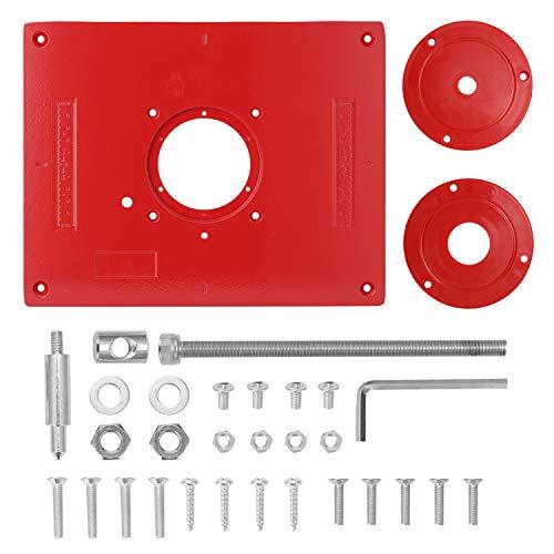 KKmoon Router Platte Aluminiumlegierung Router Tisch mit 2 Ringen und Schrauben Holzbearbeitung Bänke