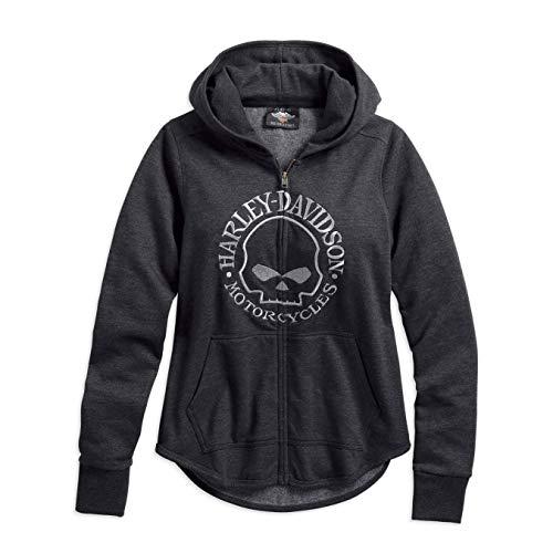 HARLEY-DAVIDSON Damen Zip-Hoodie Kapuzenpullover Black Skull