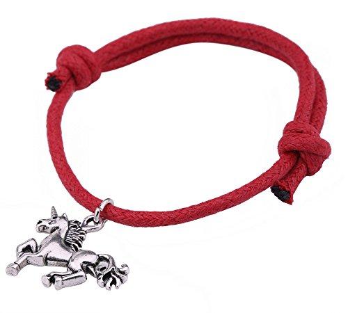 fishhook Pulsera con colgante de unicornio de moda para amantes de los animales, mujeres, niñas, adolescentes (rojo)