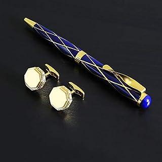 قلم وازرار اكمام للرجال – ذهبي ازرق
