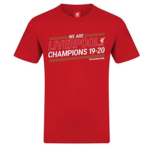 Liverpool FC - T-Shirt für Kinder & Herren zum Premier-League-Sieg 19/20 - Offizielles Merchandise - Rot - XL