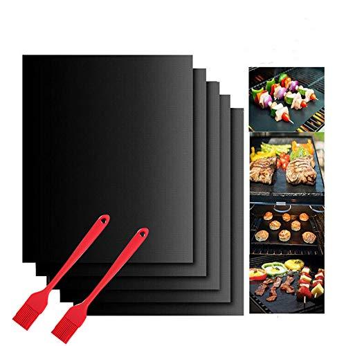 Tapis de Cuisson Barbecue,5 PcsTapis Barbecue Set-40x50cm,feuille de cuisson reutilisable,feuille teflon,pour Barbecue à Gaz, Électriques et Charbon (40x50 cm)