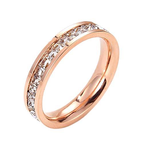 Jituan Anillo de diamantes de una sola fila de diamantes con circonita cúbica para matrimonio, compromiso, anillo de regalo de oro rosa tamaño 3-10