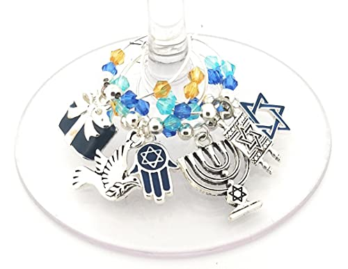 Hanukkah Wine Charms Gift, Menorah Wine Charms, Holiday Wine Tag Glass Identifiers, Hanukkah Party Supplies Torah, Shalom, Star Of David, Hamas Hand Charms,- 6 Pack