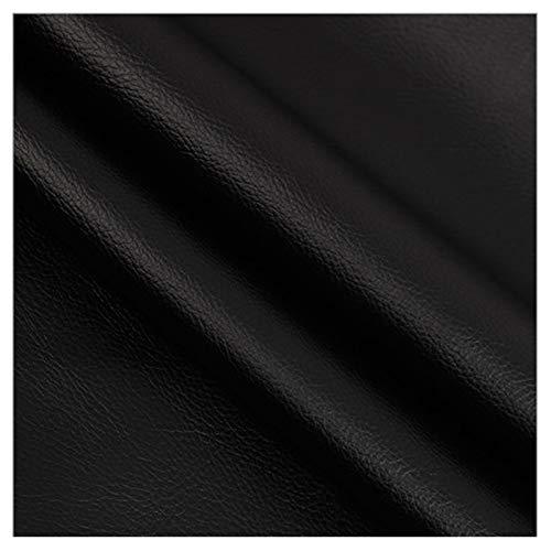Tela de Polipiel for Tapizar Eco-cuero Imitación d Cuero Sintético, Cuero de Imitación por Metro, Material de Tela de Tapicería Sintética Litchi Impermeable, Ancho 138cm, Negro ( Size : 1.38x2m )