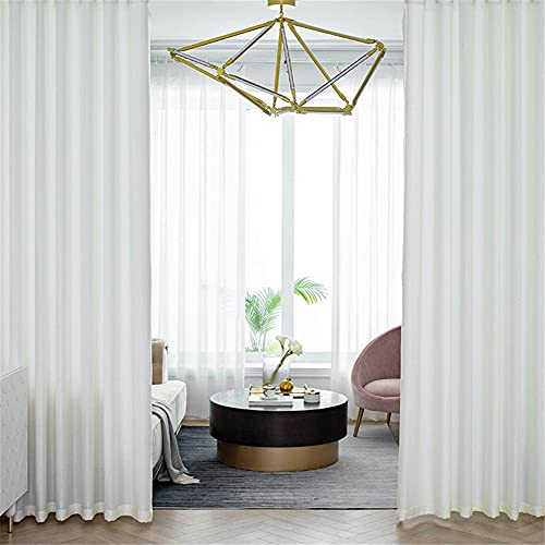 Luxueux Couleur unie Voile Rideaux Semi transparent avec œillet voilage fenêtre Filtrage de la lumière Vie privée rideaux voilage Lot de 1 pour Enfants Garderie etcF-Punch~W250xH270cm(98x106inch)