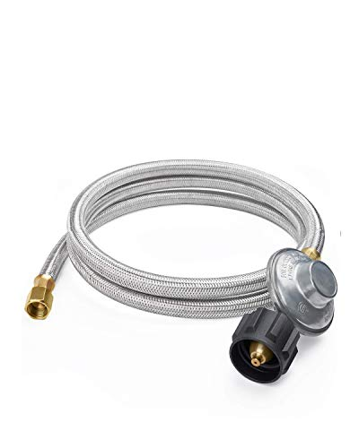 SHINESTAR 6FT Low Pressure Propane Regulator with Stainless Braided Hose for Gas Grill, Smoker, Propane Fire Pit, Heater and More