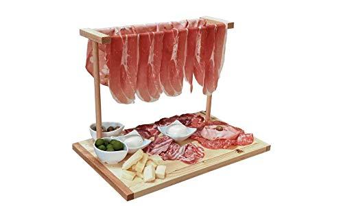 Mottinox - Vassoio in Legno da Servizio, appendi prosciutto, Vassoio per aperitivo e Porta prosciutto