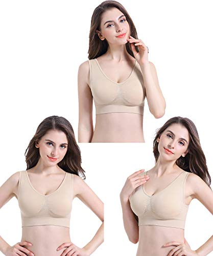 PRETTYWELL Sleep Bra for Women, Seamless Wireless Stretchy Sports Bra, Pack of 3 or 1, with Removable Pads, 3 Pack Nude L