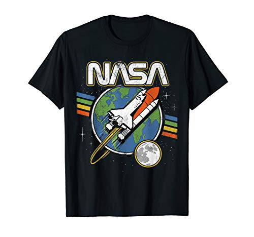 NASA Blast Off Retro Rainbow Stripes Graphic T-Shirt