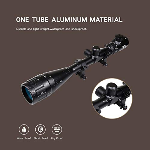 Goetland 6-24x50 AOEG Rifle Scope Red & Green Rangefinder Mil-Dot Illuminated Tactical Hunting with Mounts
