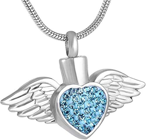 OPPJB Collares para Mujerjoyas para Mamá Angel Wing Piedra De Nacimiento Urna De Cremación Collar De Cristal Corazón Memorial Colgante Joyas De Acero Inoxidable