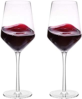 Italian Red Wine Glasses 15.5 Ounce 9.1'', Laser Cut Rim For Wine Tasting, Lead-Free Cups, Elegant Drinking Glassware, Dishwasher Safe, White or Red Wine Glass Set of 2