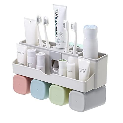 Cmstop Baño Organizador Estante Cepillo de Dientes montado en la Pared Artículos de tocador Soporte para Pasta de Dientes Estante con Tazas