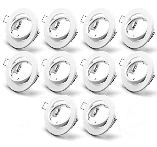 OPPER 10x Marcos de focos empotrados Techo Orientable incl. portalampada GU10,Para Lámparas LED y halógenas,Dimensiones Ø90×25mm Orificio de montaje Ø68mm,Redonda blanca,IP23