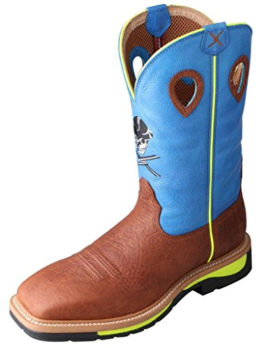 Twisted X Men's Neon Blue Lite Cowboy Work Boot Steel Toe Brown 12 EE US