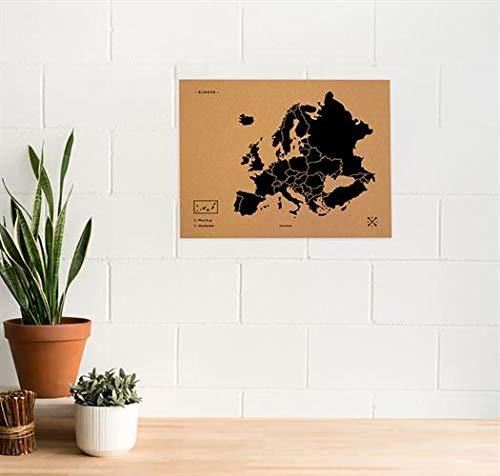 Miss Wood Woody Map L Karte von Europa aus Kork, schwarz (Schriftzug in englischer Sprache), (45x60cm)