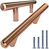 Alpine Hardware Premium Solid Euro Style Bar Handle Pull | 25Pack ~3' Hole Center & 5 3/8' Length Heavy Stainless Steel Handle Pull with Satin Copper/Bronze Finish | American Owned Cabinet Hardware
