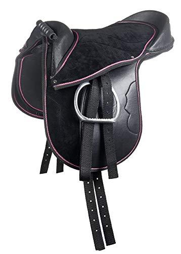 HKM Shetty Sattel -Funny Horses-, schwarz/pink, 12
