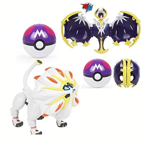UALLL Pikachu Spielzeug, 2 stücke Pet Elf Ball Pokemon Transfiguration Egg Pikachu Spitfire Drachen Transformierte Roboter Spielzeug Kinder Geburtstagsgeschenk (Color : Lunala+Solgaleo)