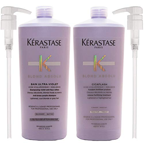 Blond Absolu Bain Ultra-Violet Purple Shampoo & Cicaflash Conditioner 34 Oz each with Pumps