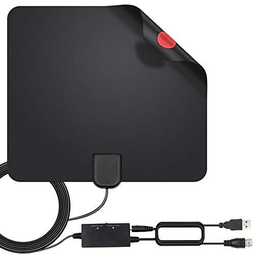 Antenna TV Interna Antenna HDTV Digitale Interna Intelligente Intensificatore di Segnale Raggio 300KM,Antenna Per HDTV Applicabili ai Canali Gratuiti 1080P 4K Amplificatore con Cavo Coassiale 5M.