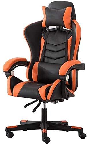 Silla para juegos Xiuyun, respaldo alto, reclinable, ergonómica, con reposacabezas y almohada lumbar de masaje (color: negro naranja)