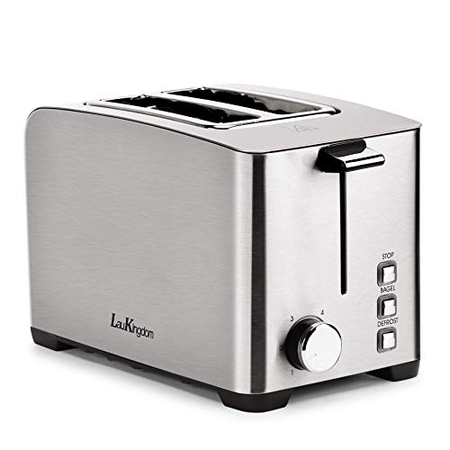 """Toaster 2 Slice Long Slot, LauKingdom Auto Pop-Up Stainless Steel 1.57"""" Extra Wide Slots Toaster with 6 Shade Settings and Defrost/Cancel Button, 850W 120V, Silver (Renewed)"""