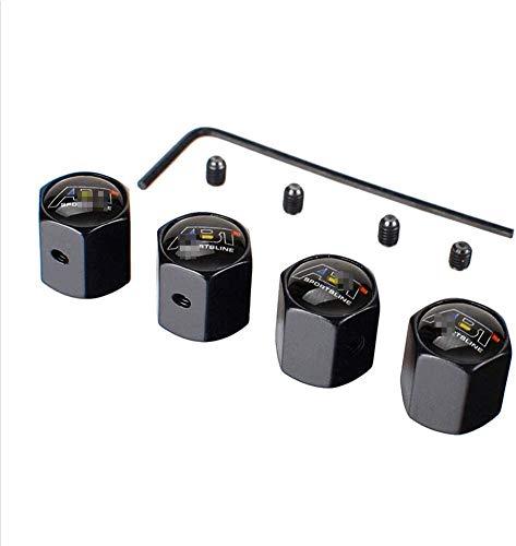 Acero Inoxidable Neumático Automóvil VáLvulas Tapas para ABT Golf 4 5 6 7 Polo T4 T5 Tiguan, Anti Polvo Resistente Agua Accesorios