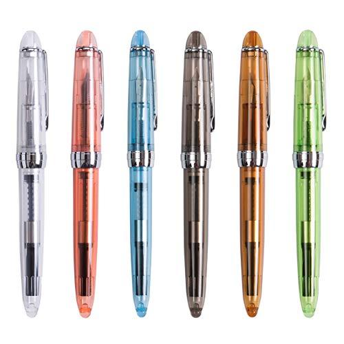 6 Stück Jinhao 992 transparent F Feder Füllfederhalter Student Office Supplies Tinte Stifte zum Schreiben