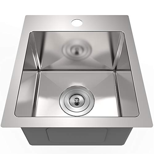 13 x 15 inch Drop in Bar Prep Sink Stainless Steel Kitchen Sink 16 Gauge Single Bowl with Basket Sink for Bar Laundry Farmhouse Decoration Remodel, 16 Gauge ,Curved R10,AM001