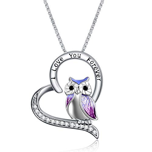 YFN Owl Necklace Sterling Silver'I Love You Forever' Heart Owl Gifts for Women Girls