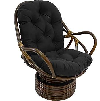 KSWD Garden Hammocks Papasan Chair Cushion Not Rattan Frame Swivel Rocker Chair Cushion Comfortable Overstuffed Hanging Basket Chair Pads Needles Twill Solid-48x24x5Inch Black
