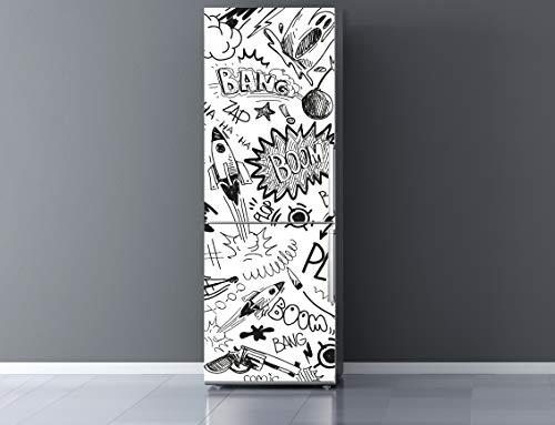 Oedim Vinilo para Frigorífico Cómic 185x70cm   Adhesivo Resistente y Económico   Pegatina Adhesiva Decorativa de Diseño Elegante