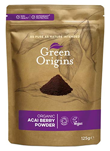 Green Origins Organic Acai Berry Powder, Freeze Dried, Raw 125g