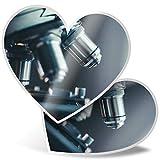 Impresionante pegatinas de corazón de 15 cm – Microscopio de laboratorio científico divertido calcomanías para computadoras portátiles, tabletas, equipaje, libros de chatarra, frigorífico, regalo genial #45492