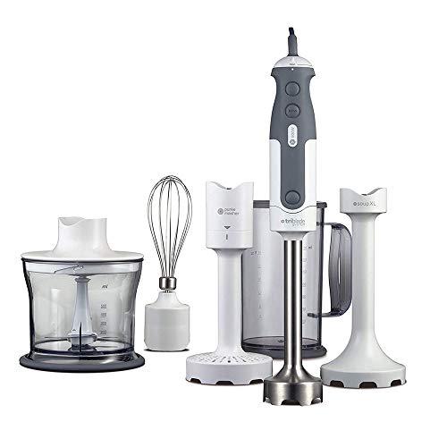YFGQBCP 800W multifunción Mezclador de la Mano, Anti-Salpicaduras, Mixer Incluye 5 Adjuntos 0,5 Litro Chopper, Soup & Masher adjuntos, Bata y 0,75 litros BPA sin Vaso de plástico